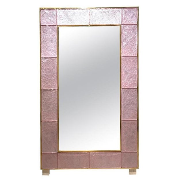 Early 21st Century Modern Pink Murano Glass and Brass Mirror For Sale - Image 9 of 9