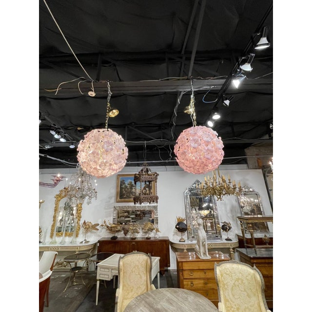 Early 21st Century Modern Murano Pink Flower Globe Chandeliers For Sale - Image 5 of 7