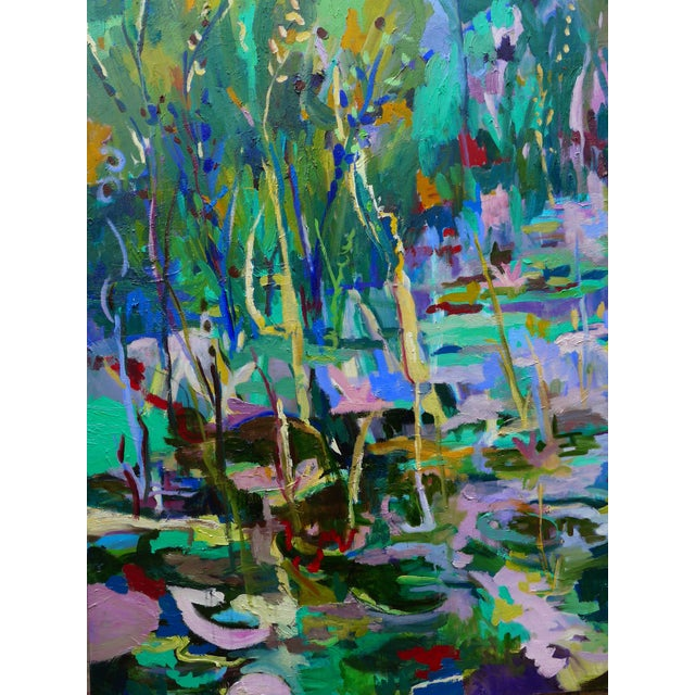 Blue Monumental Lily Pond Oil Painting at Monet's Garden For Sale - Image 8 of 12