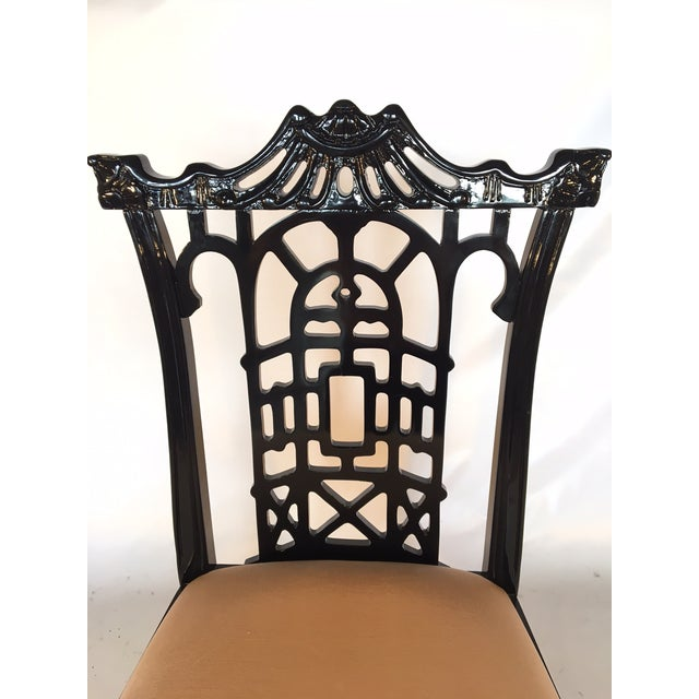 Black Lacquer Asian Chinoiserie Pagoda Dining Chairs - Set of 4 For Sale - Image 10 of 11