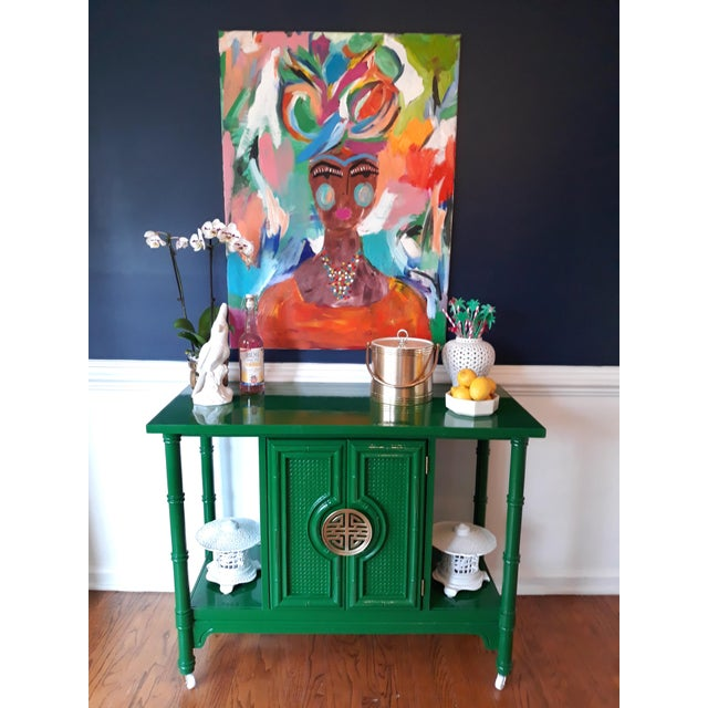 Metal Hollywood Regency Lacquered Green Faux Bamboo Bar Cart For Sale - Image 7 of 13
