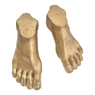 Gold Ceramic Feet - a Pair For Sale