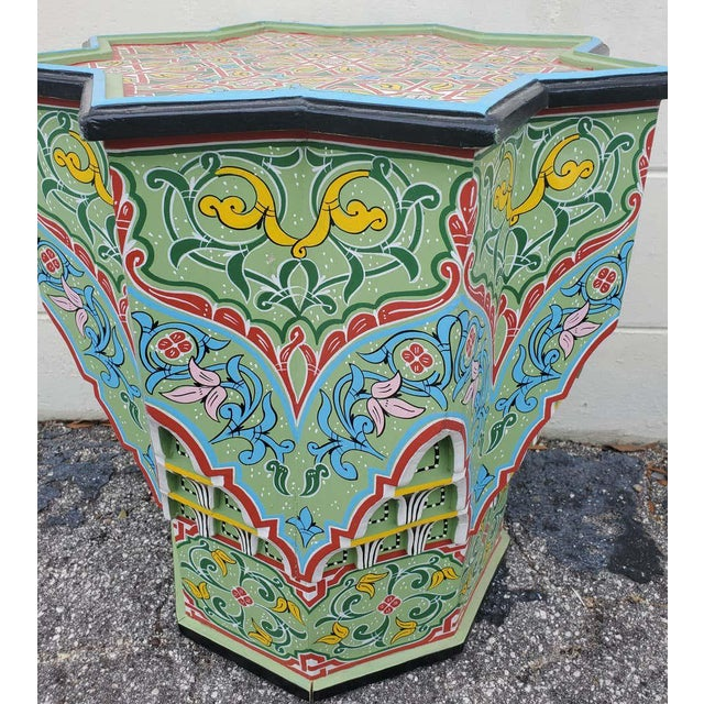 2010s Moroccan Lg Ceuta 3 Painted and Carved Star Table, Multi-Color For Sale - Image 5 of 8