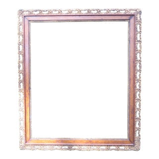 Vintage Large Picture Oak Frame with Inner Border of Gold Finished Gesso