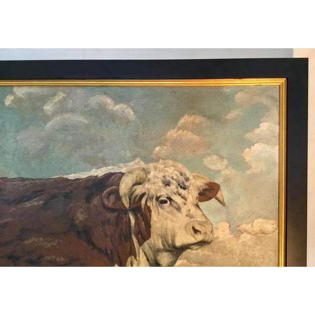 Canvas Hereford Bull ~ Oil on Canvas For Sale - Image 7 of 12