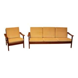 Danish Modern Teak Sofa and Chair Set For Sale