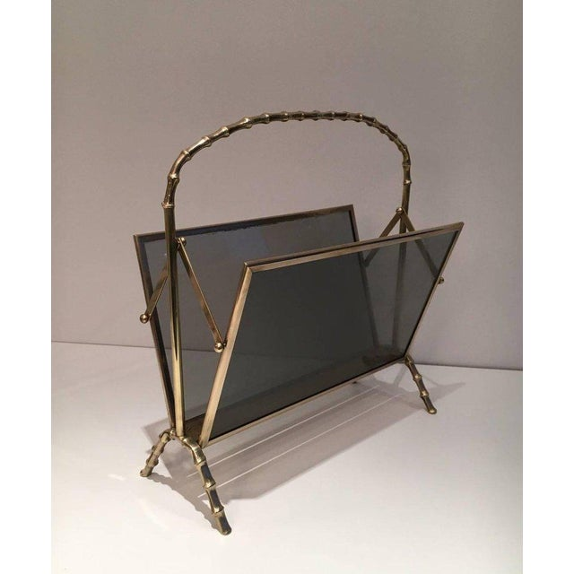 Faux Bamboo Bronze Magazine Rack by Maison Baguès, Circa 1940 - Image 9 of 11