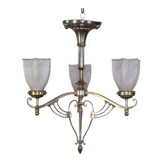 1910 Arts and Crafts Nickel on Brass Chandelier For Sale