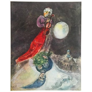 "Marc Chagall Vintage 1947 Rare Limited Edition French Lithograph Print "" Le' Hiver Des Amourex "" For Sale"