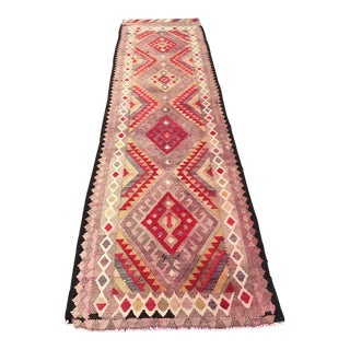 Vintage Turkish Handwoven Floral Runner- 2′10″ × 12′4″