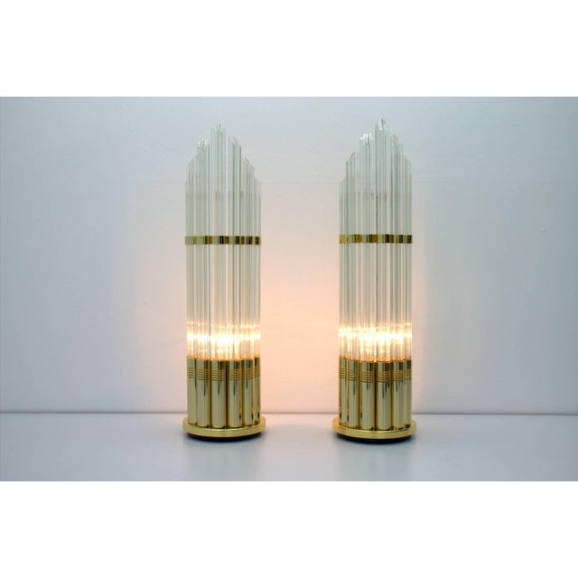 Glass Pair of Murano Glass Table Lamps With Gilded Base, Italy, 1970s For Sale - Image 7 of 7