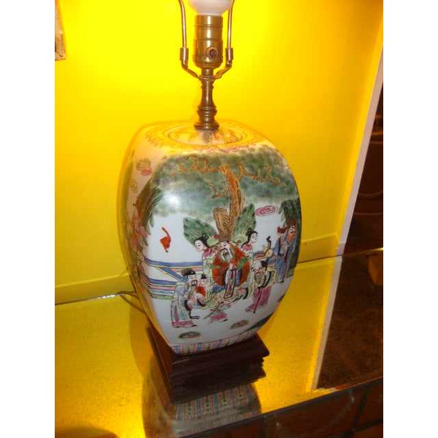 Chinese Export Porcelain Painted Ginger Jar Table Lamps- A Pair - Image 6 of 10