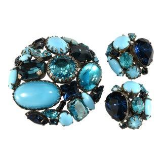 Schreiner Brooch & Earrings Set Blue Rhinestones For Sale