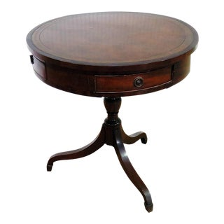 19th Century English Leather Top Drum Table For Sale