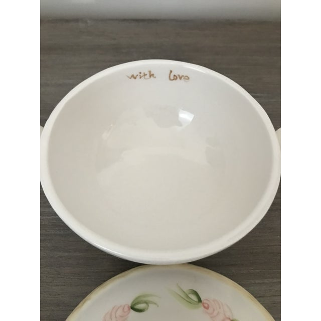 Shabby Chic Vintage Christina Ladas for Silvestri Hand Painted Rose Trinket Dish For Sale - Image 3 of 8