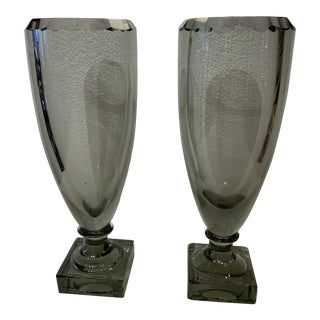 1930s English Art Deco Smoke Crystal Vases - a Pair For Sale