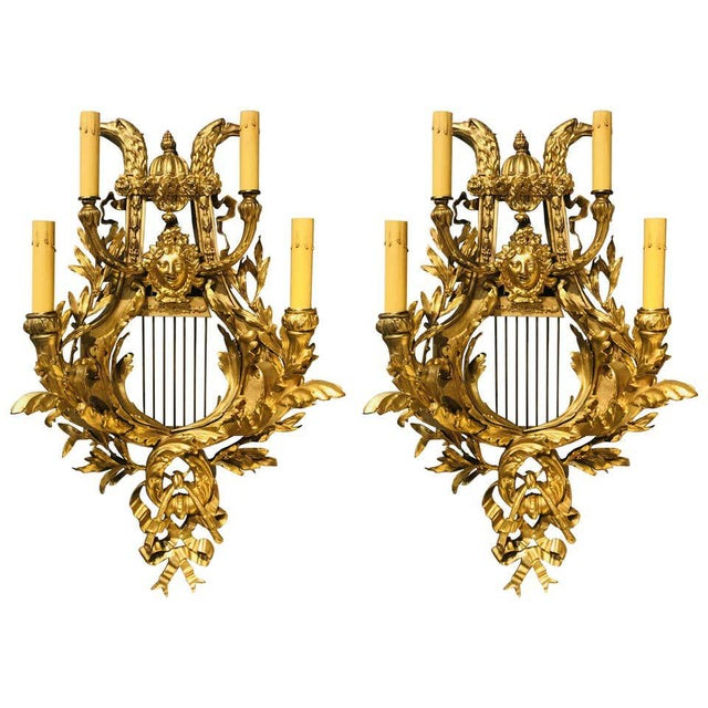 Pair of Four-Light Louis XVI Style Bird & Face Mounted Gilt Bronze Wall Sconces For Sale - Image 13 of 13