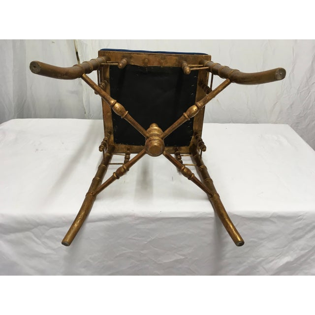 1900 - 1909 Antique Faux Bamboo Stool For Sale - Image 5 of 11
