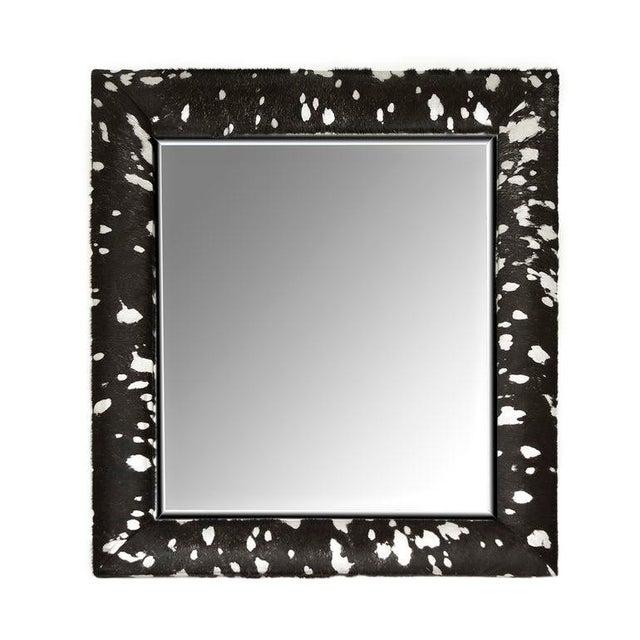 2010s Contemporary Black & Silver Metallic Hide Mirror For Sale - Image 5 of 5