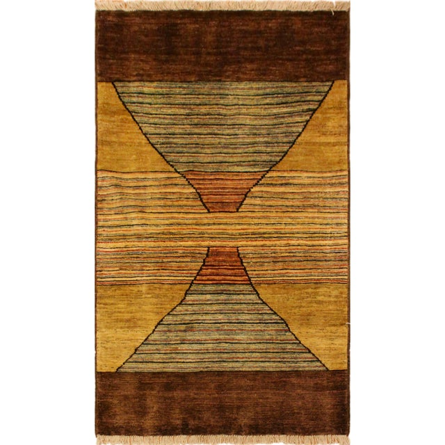Blue Gabbeh Peshawar Valentin Brown/Gold Hand-Knotted Wool Rug -3'0 X 4'8 For Sale - Image 8 of 8