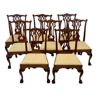 1990s Vintage Stickley Chippendale Ball & Claw Dining Chairs - Set of 8 For Sale
