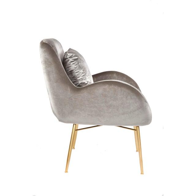Modern New Modern Gray Velvet Accent Chair For Sale - Image 3 of 5