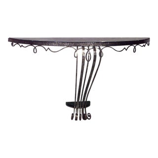 French Art Deco Wrought Iron Bracket Console Table For Sale