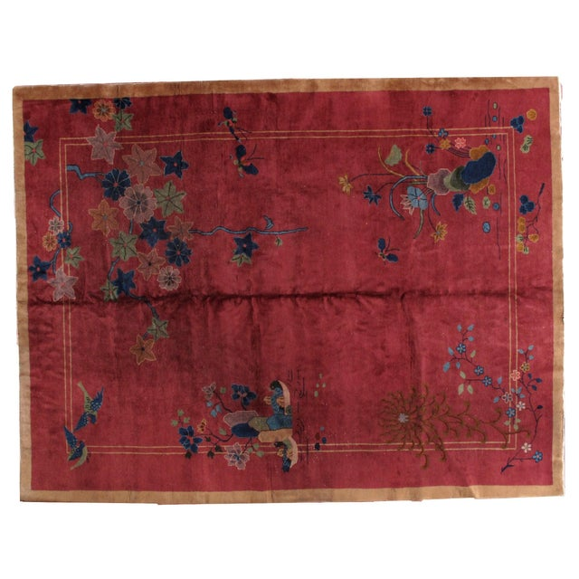 1920s Antique Art Deco Chinese Rug - 8′10″ × 11′8″ - Image 7 of 8