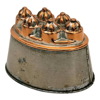 Antique Oval Copper and Tin Mold For Sale