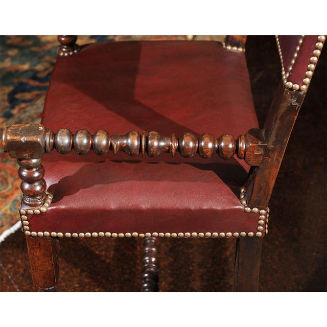 Bobbin Turned Walnut Armchair with Red Leather Upholstery For Sale - Image 9 of 9