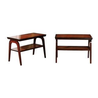 Rare Restored Pair of End Tables by John Wisner for Ficks Reed, Circa 1954 For Sale