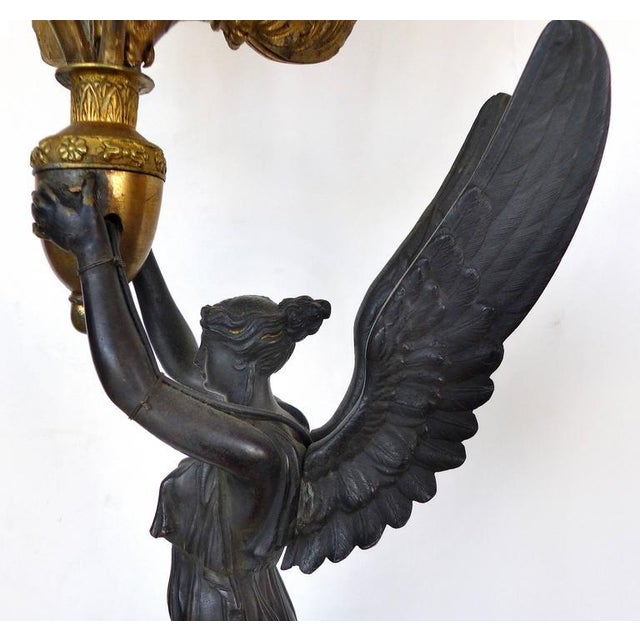 Mid 19th Century 19th Century Bronze Candelabra Lamps, Pair For Sale - Image 5 of 11