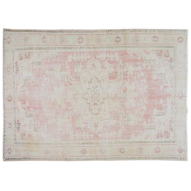 """Vintage Turkish Anatolian Oushak Hand Knotted Organic Wool Fine Weave Rug,6'7""""x9' For Sale In New York - Image 6 of 6"""