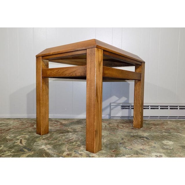 Arts & Crafts Lane Oak & Walnut Parquet Top End Table For Sale - Image 3 of 12