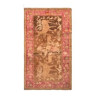 Antique Karabagh Rug in Brown and Red Pictorial Design - Deer and Floral Pattern For Sale