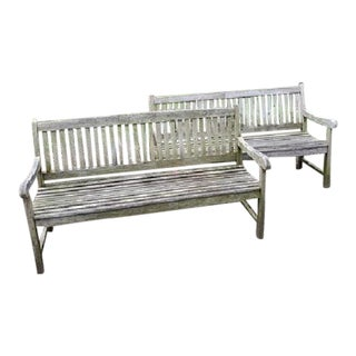 Danish Teak Garden Benches- A Pair For Sale