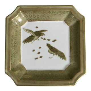 Chinese Hand Painted Celadon and Gold Birds on Clipped Edged Tray For Sale