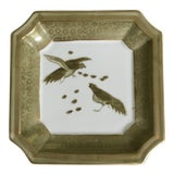 Image of Chinese Hand Painted Celadon Green and Gold Birds on Clipped Edged Tray For Sale