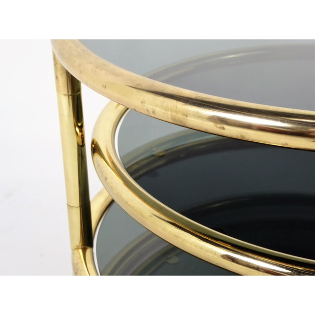 1970s Three Tier Brass With Smoked Glass Coffee Table For Sale - Image 9 of 12