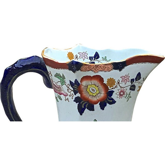 Black Antique Ironstone Floral Basin & Pitcher - a Pair For Sale - Image 8 of 11