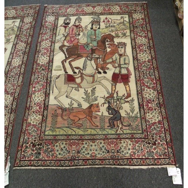 Late 19th Century Antique Handmade Pictorial Rugs - a Pair For Sale - Image 4 of 13
