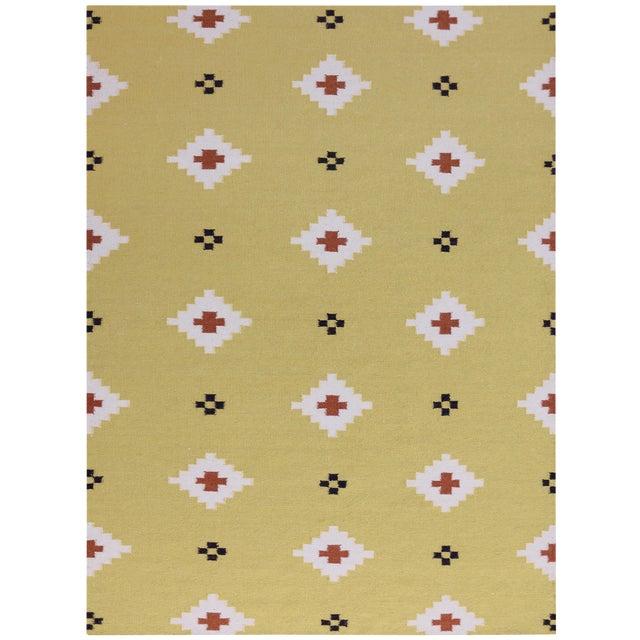 Zara Southwestern Yellow Flat-Weave Rug 8'x10' For Sale