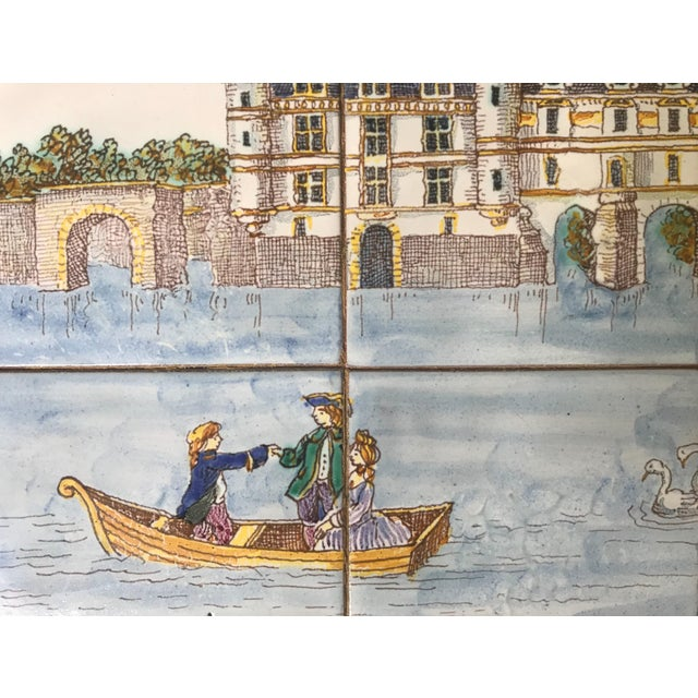 1980s French Handpainted Tile Table With French Chateau Chenonceau For Sale In New York - Image 6 of 8