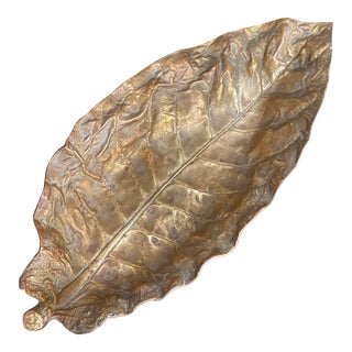 Mid-Century Solid Brass Tobacco Leaf by Cambron For Sale