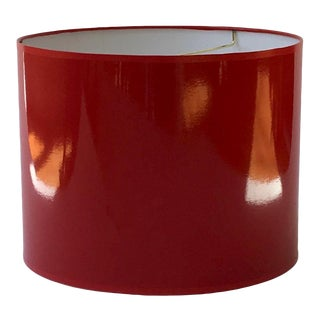 Large Red High Gloss Drum Lamp Shade For Sale