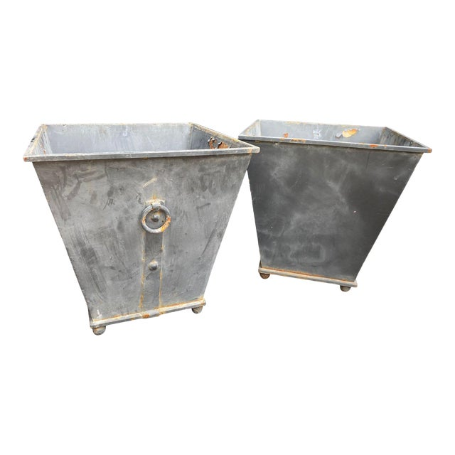 Steel Planters - a Pair For Sale