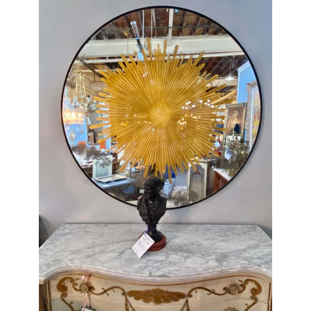 1970s Monumental Gilt Gold & Silver Glass Sunburst Mirrors or Table Top Pair For Sale - Image 5 of 13