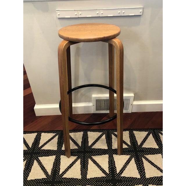 Tan Mid Century Alvar Aalto Style Bentwood Counter Stool For Sale - Image 8 of 8