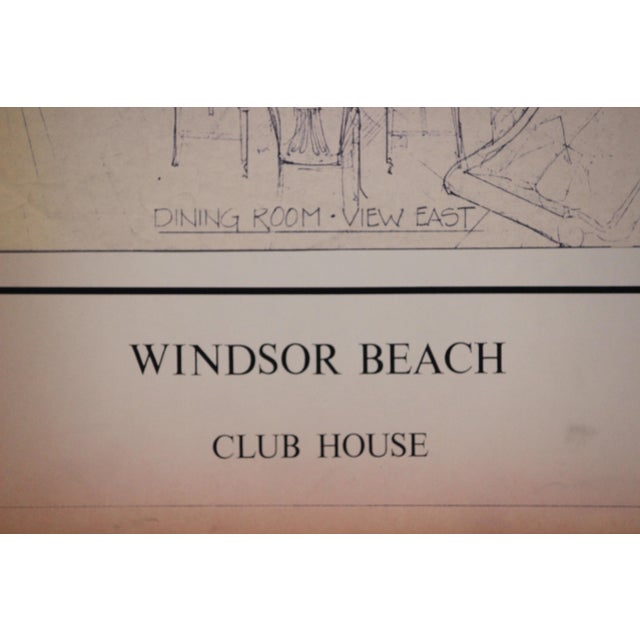 Classic original architectural rendering for the Windsor Beach Club House (in Vero Berach, FL) 'Dining Room- View East'...