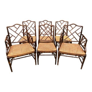 Chinese Chippendale Faux Bamboo Dining Chairs - Set of 6